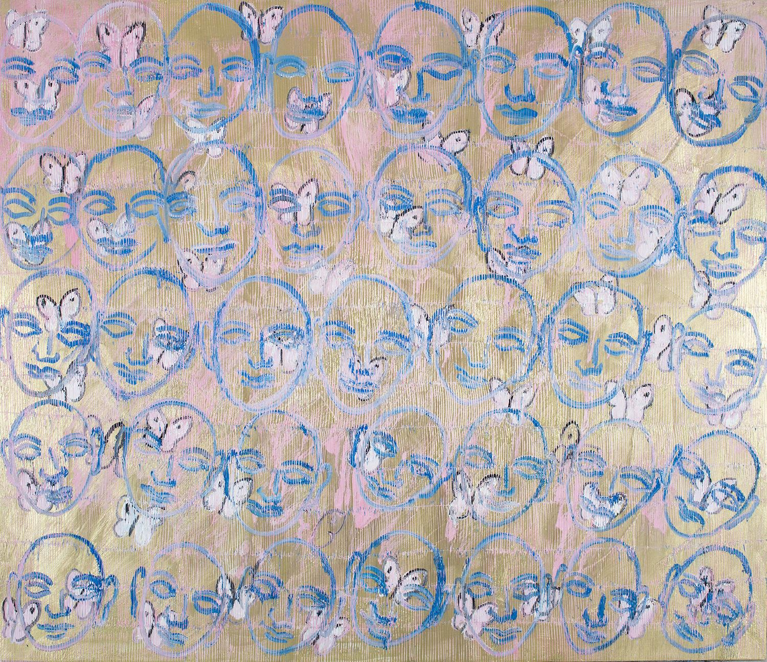"""Hunt Slonem """"Siddhas"""" Blue, Pink, & Gold Faces with Butterflies"""