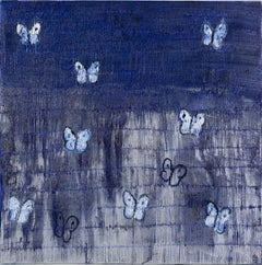 "Hunt Slonem ""Silver Ascension Misty"" Blue Butterflies"