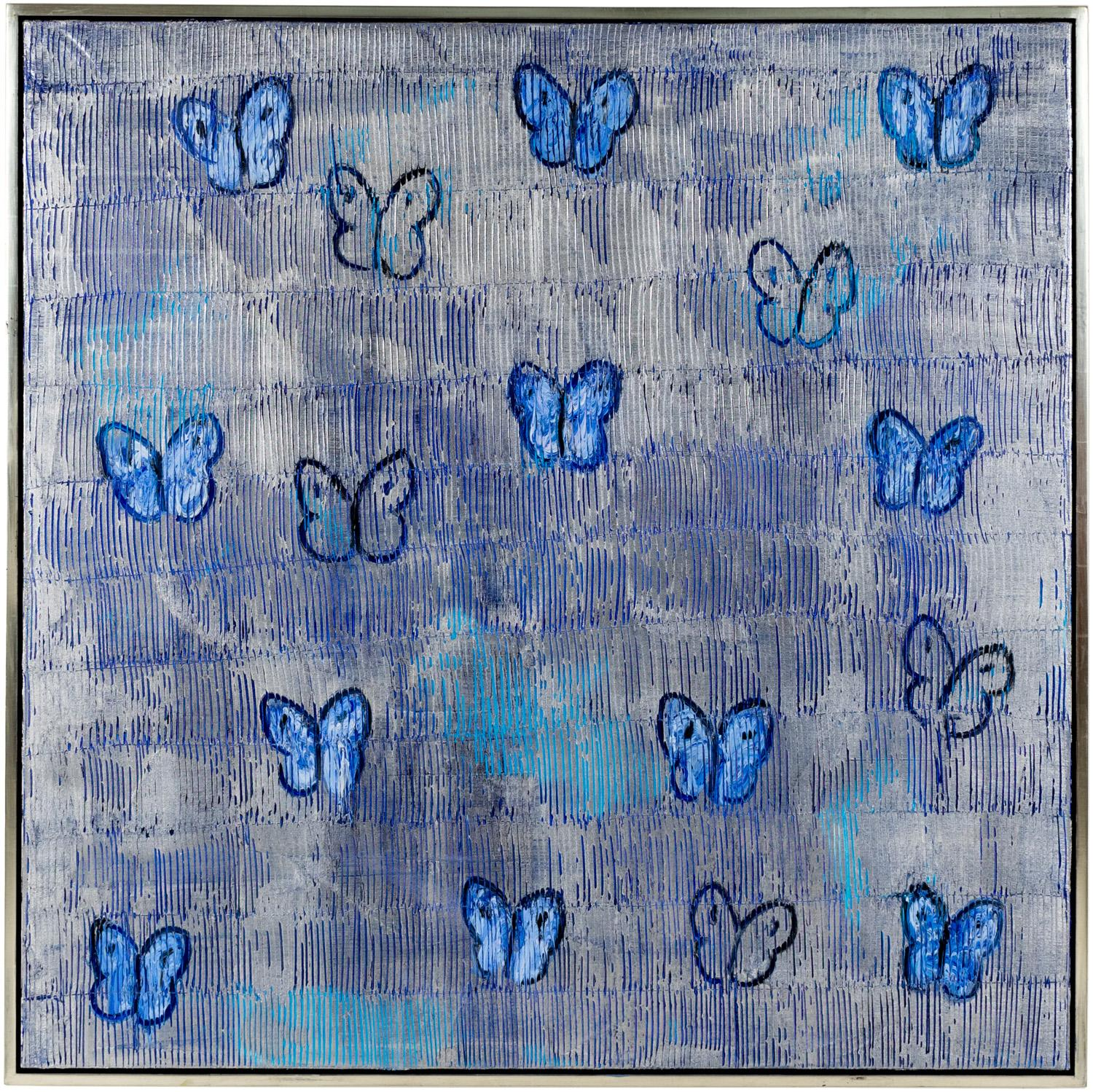 """Hunt Slonem """"Silver Ascension Valentine"""" Silver And Blue Butterflies"""