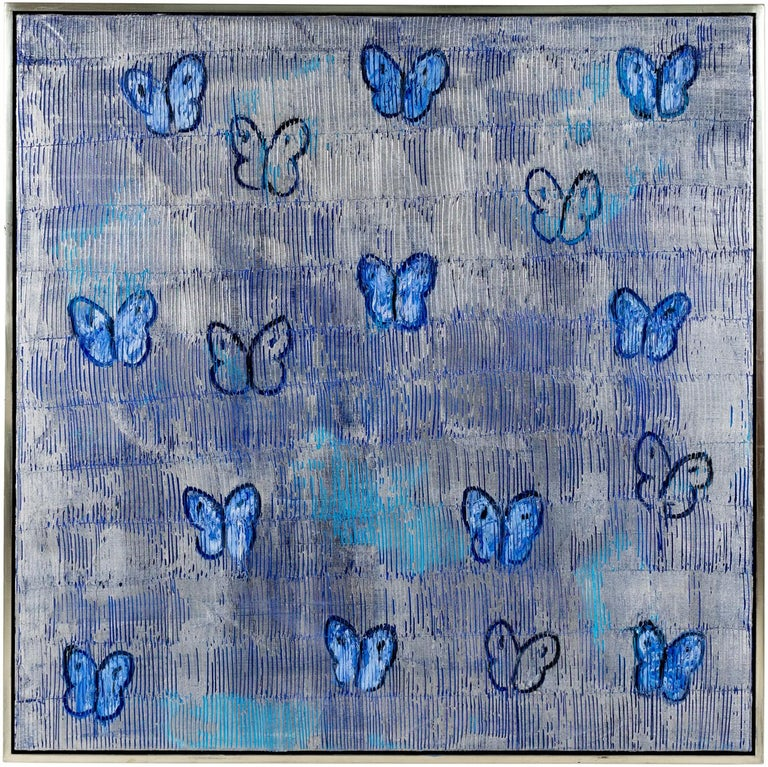 """Hunt Slonem """"Silver Ascension Valentine"""" Silver And Blue Butterflies - Painting by Hunt Slonem"""