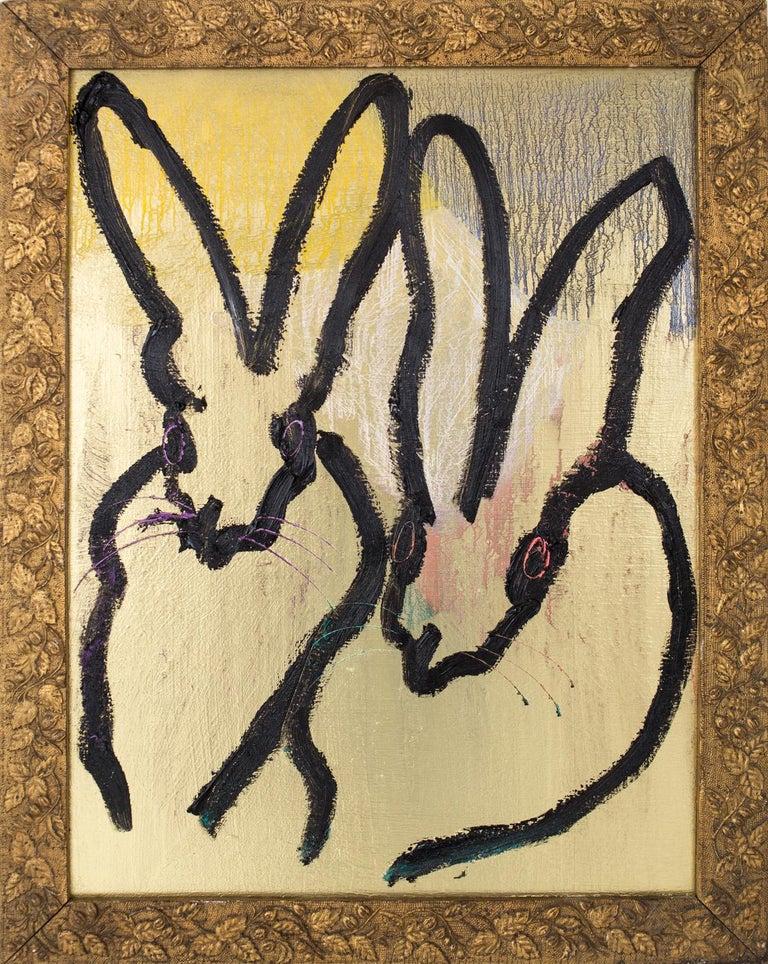 "Hunt Slonem ""Sky Rocket"" Two Black Gestured Bunnies - Painting by Hunt Slonem"