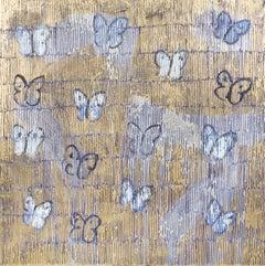 "Hunt Slonem ""Starr Night Comments"" Gold & Blue Metallic Butterflies"