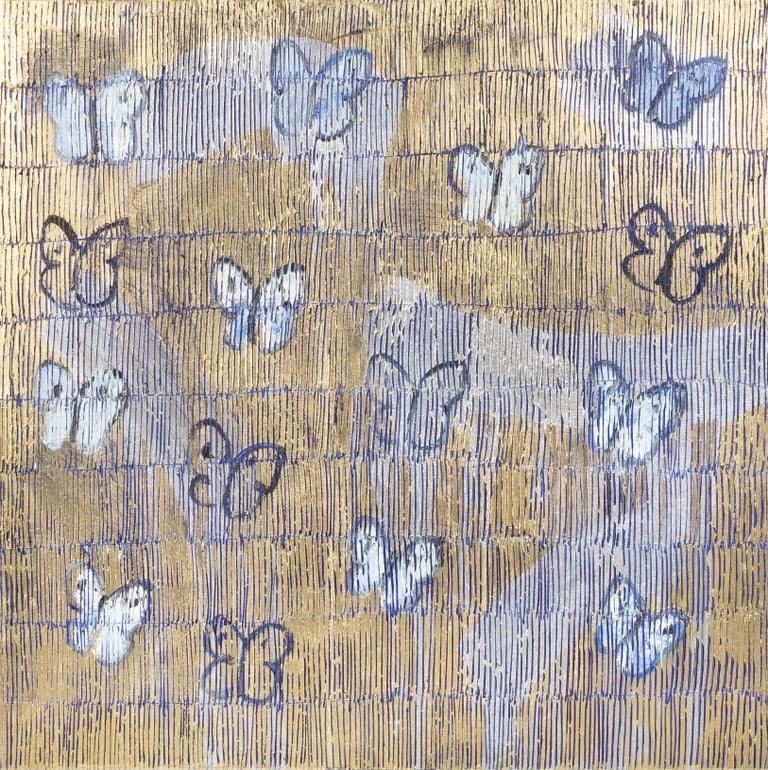 "Hunt Slonem ""Starr Night Comments"" Gold & Blue Metallic Butterflies - Painting by Hunt Slonem"
