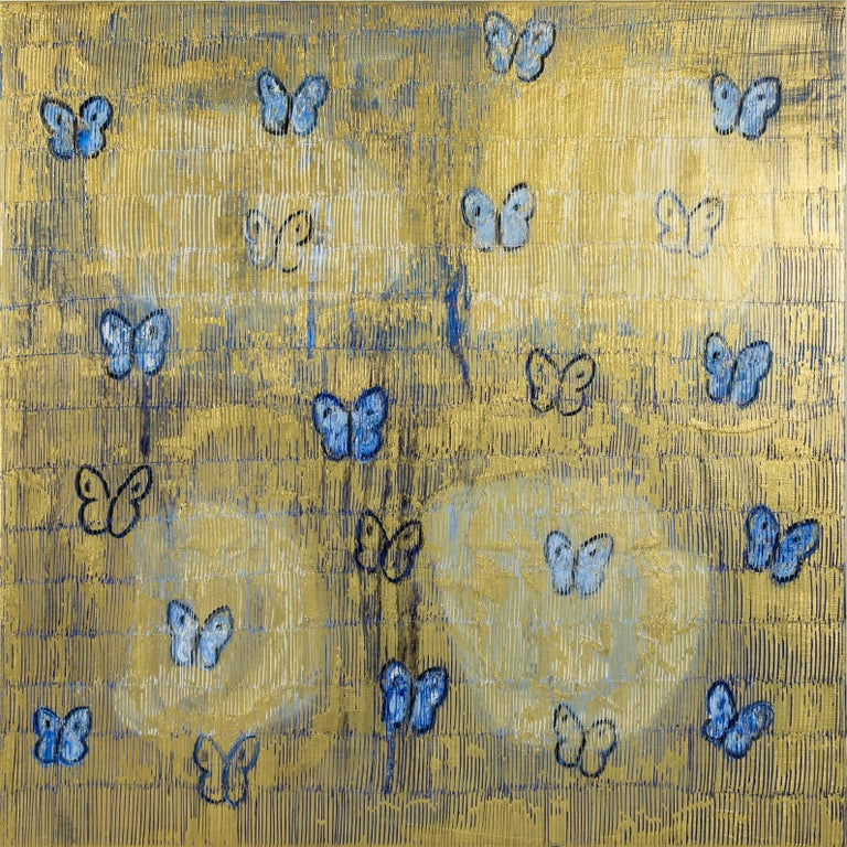 "Hunt Slonem ""Starry Night"" Blue & Gold Butterflies - Painting by Hunt Slonem"