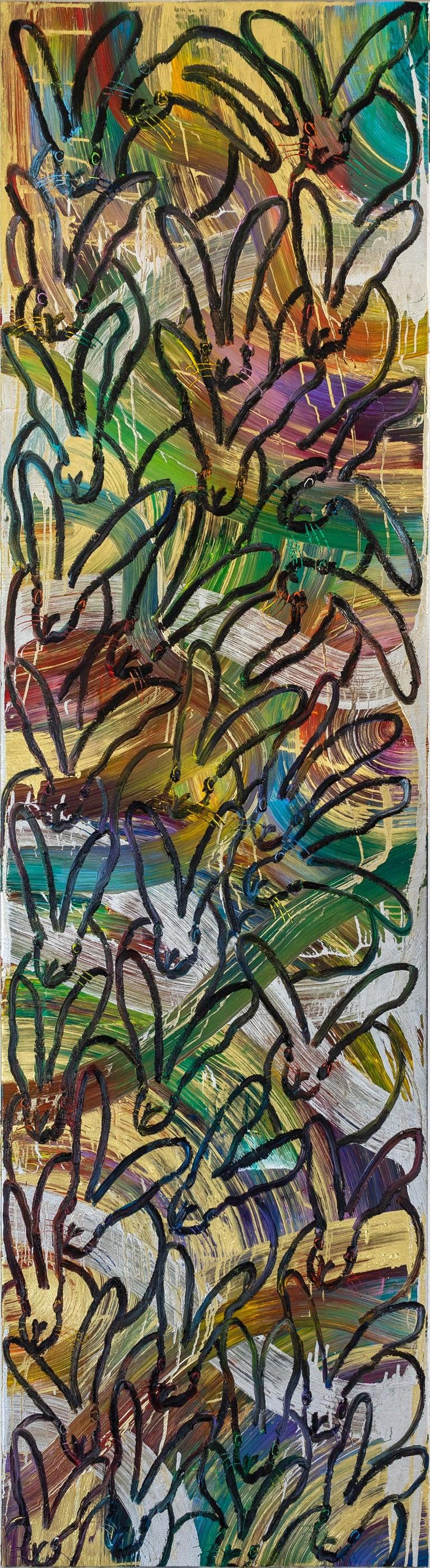 "Hunt Slonem ""Tall Totem"" Multicolored Rainbow Metallic Bunnies - Painting by Hunt Slonem"