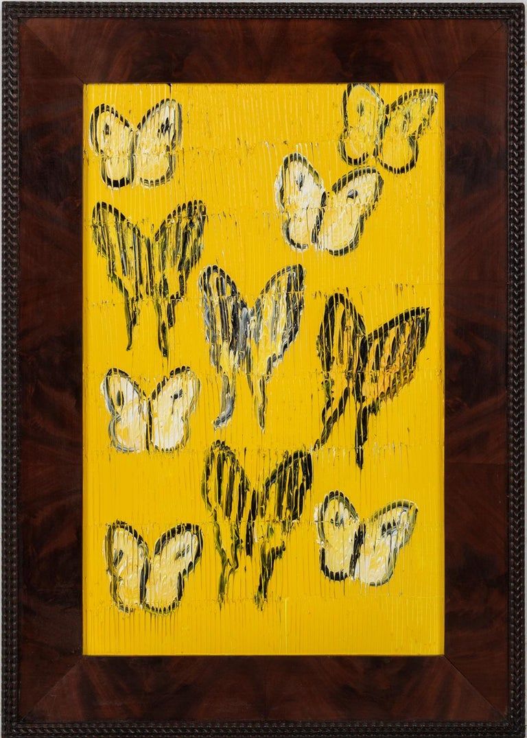 "Hunt Slonem ""Tiger Swallowtail & Zebra"" Yellow Butterflies - Painting by Hunt Slonem"