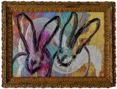 "Hunt Slonem ""Totem with Two"" Metallic Rainbow Bunnies"