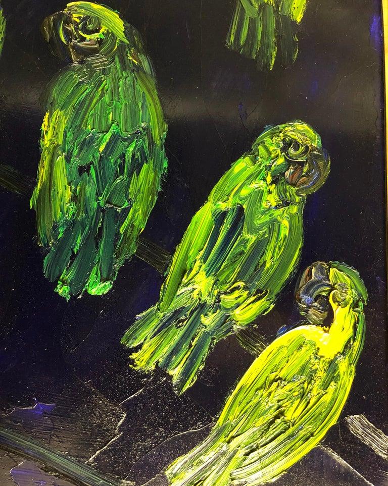 Hunt Slonem, Tropical Blue, Green Parrots on Cobalt Blue, Original Oil Painting For Sale 1
