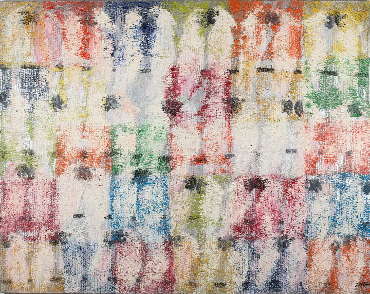"""Hunt Slonem """"Untitled"""" Birds on multicolored & silver checkered background"""