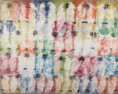 "Hunt Slonem ""Untitled"" Birds on multicolored & silver checkered background"