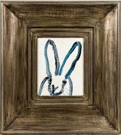 """Hunt Slonem """"Untitled"""" Black And Blue Outline On White"""