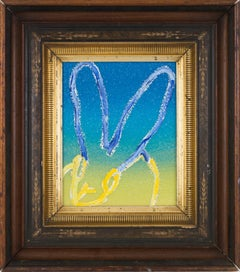 Hunt Slonem Untitled Blue & Yellow Ombre Diamond Dust Bunny