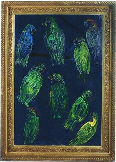 Hunt Slonem, Tropical Blue, Green Parrots on Cobalt Blue, Original Oil Painting