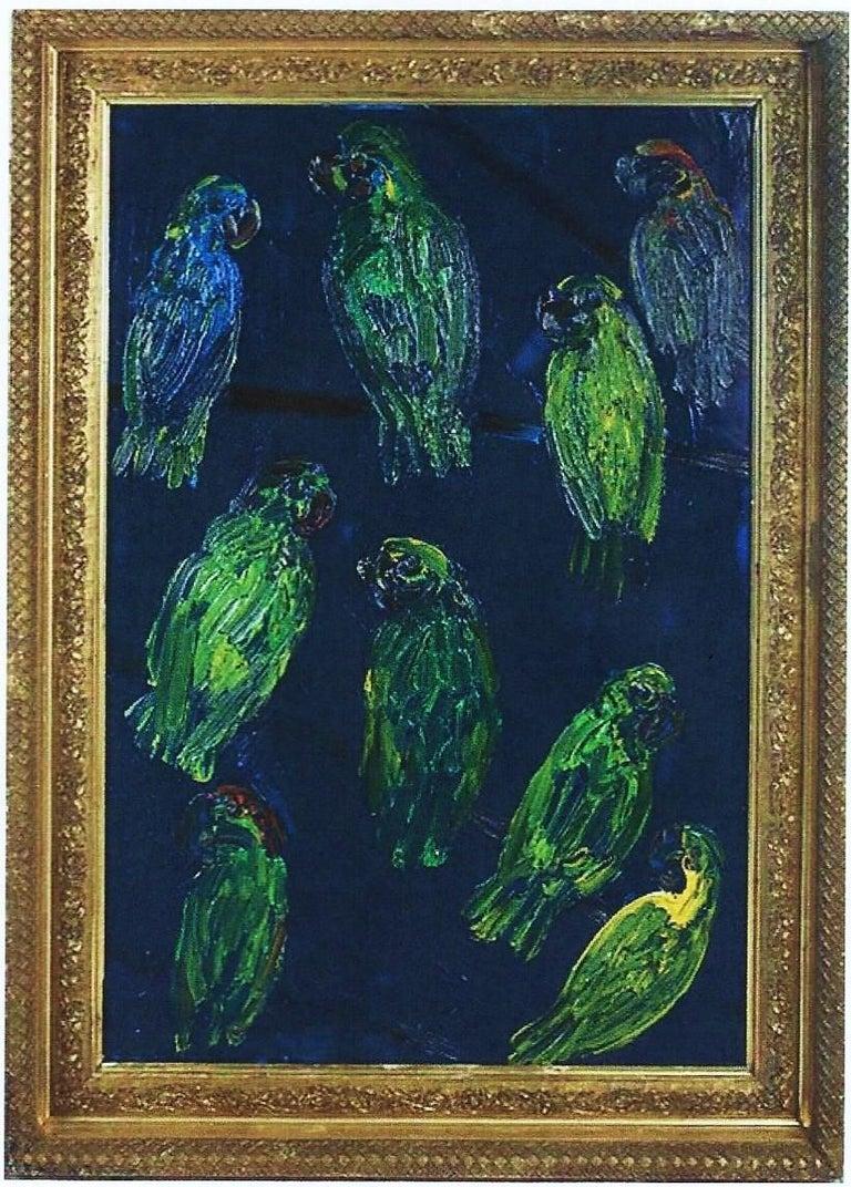 Hunt Slonem, Tropical Blue, Green Parrots on Cobalt Blue, Original Oil Painting - Brown Animal Painting by Hunt Slonem