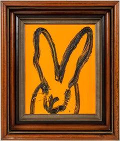 """Hunt Slonem """"Untitled"""" Orange Black Outline Bunny"""