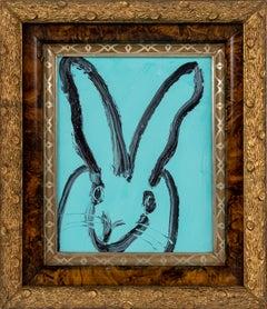 """Hunt Slonem """"Vera"""" Aqua Blue Bunny"""