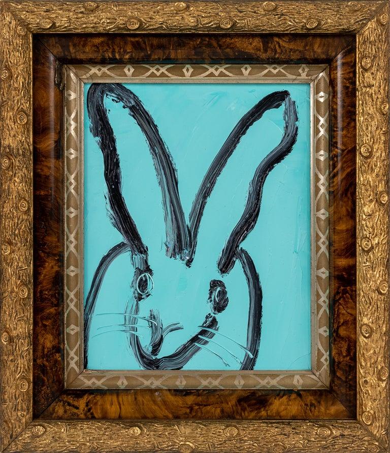 "Hunt Slonem ""Vera"" Aqua Blue Bunny - Painting by Hunt Slonem"
