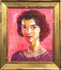 """Jackie Kennedy"" Neo-Expressionist Oil Painting in Pink Background on Wood Panel"