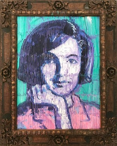 """Jackie Kennedy"" Neo-Expressionist Oil Painting in Turquoise Background on Wood"