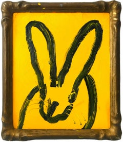 """Jackie O. 5"" - (Black Bunny on Royal Yellow) Oil Painting on Wood Panel"
