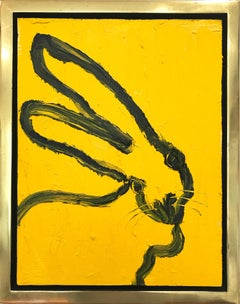 """""""Jacqueline"""" (Black Outlined Bunny on Royal Yellow) Oil Painting on Wood Panel"""