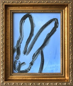 """""""Jules"""" (Black Outlined Bunny on Blue Background Oil Painting on Wood Panel)"""