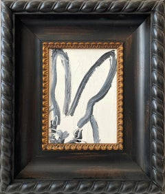 """Julia"" (Black Outlined Bunny on White Background Oil Painting on Wood Panel)"