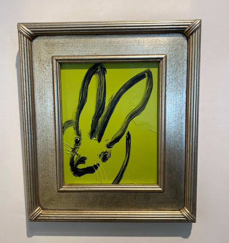 Kim- green and black gestural bunny by Hunt Slonem For Sale 5