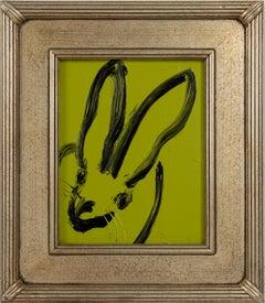 Kim- green and black gestural bunny by Hunt Slonem