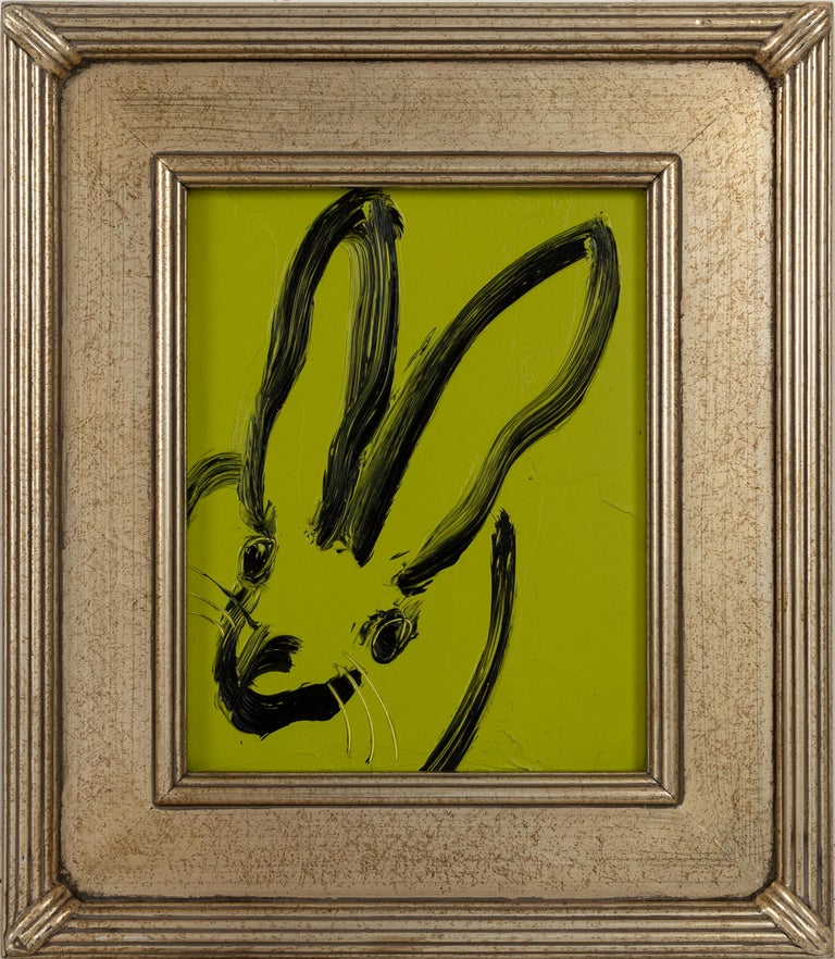Painting size: 10 x 8 inches  Framed Size: 15 x 13 inches This green and black bunny demonstrates Hunt Slonem's  neo-expressionist style. Framed in a vintage frame.   These layered, and thickly painted smaller pieces exemplify his vivid and