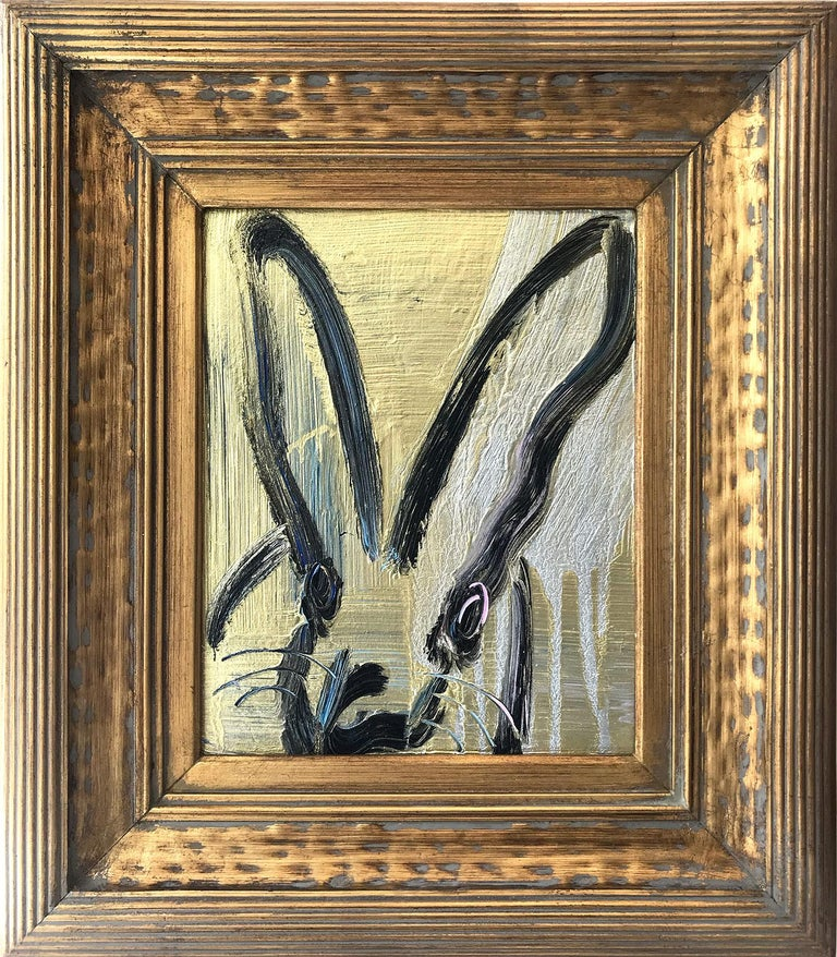 "Hunt Slonem Animal Painting - ""Lady Marion"" (Black Bunny on Gold and Silver Background Blue and Pink Accents)"