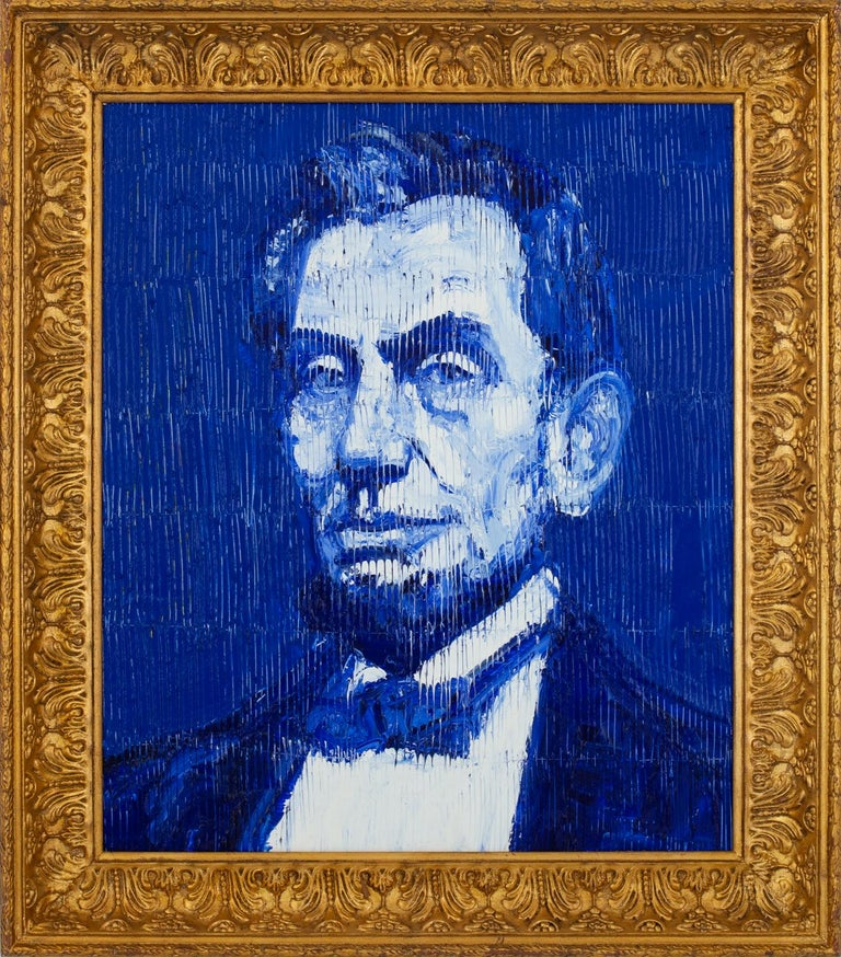 Hunt Slonem Portrait Painting - Lincoln