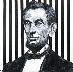 """""""Lincoln"""" (Neo-Expressionist Oil Painting in Black and White on Canvas)"""