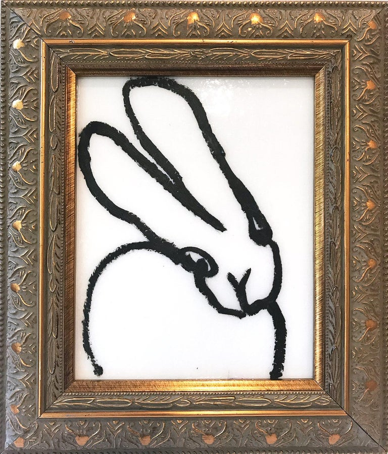 """Hunt Slonem Abstract Painting - """"Line Dance"""" (Black Outlined Bunny on White Diamond Dust Background)"""
