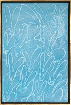 Lucky Charm in Blue- gestural blue and white bunny painting in vintage frame