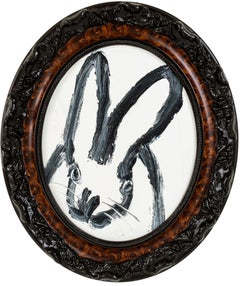 Lysle- oval white gestural bunny painting by Hunt Slonem