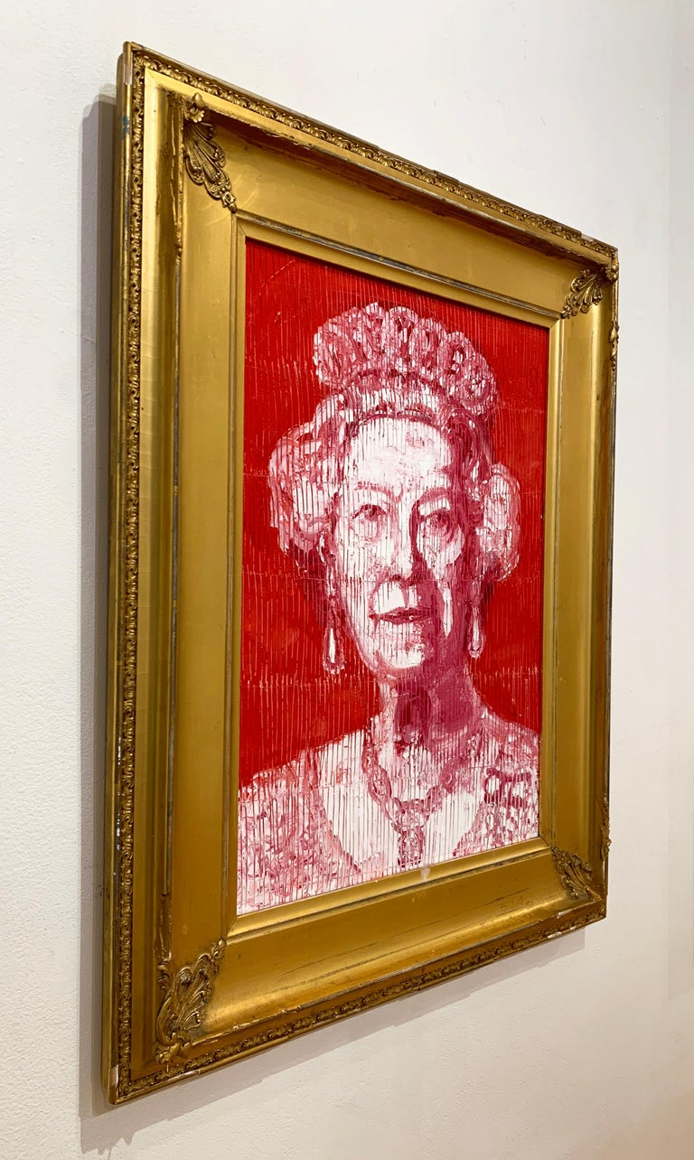 Artist:  Slonem, Hunt Title:  Her Majesty Series:  Majesty Date:  2020 Medium:  Oil on wood Unframed Dimensions:  21