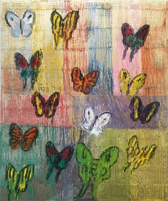 """Major Shift"" (Multicolor Butterflies on Gold Background Scoring) Oil on Canvas"