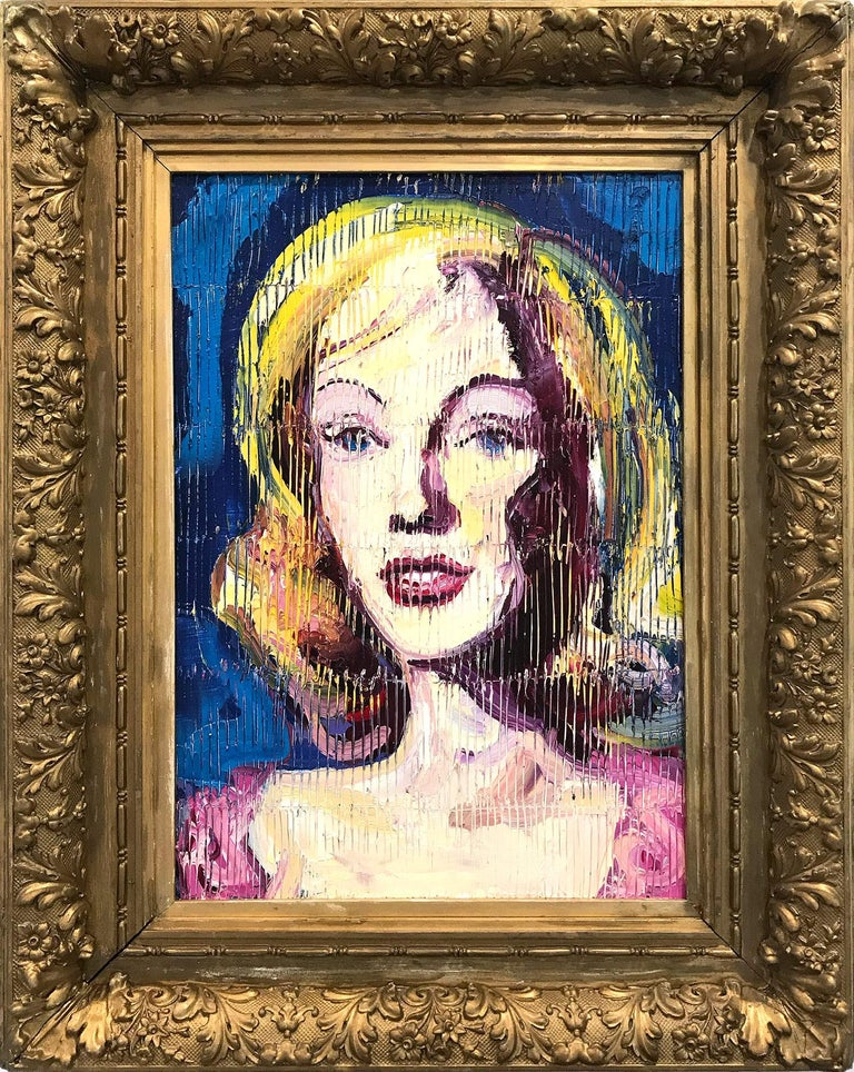 """Hunt Slonem Figurative Painting - """"Marilyn Monroe"""" Neo-Expressionist Oil Painting in Blue Background on Wood Panel"""