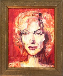 """Marilyn Monroe"" Neo-Expressionist Oil Painting in Red Background on Wood Panel"