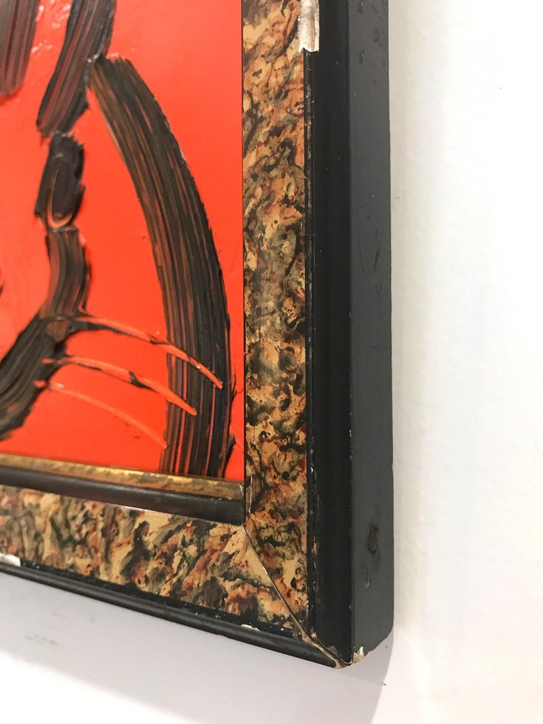 A wonderful composition of one of Slonem's most iconic subjects, Bunnies. This piece depicts a gestural figure of a black bunny on a Scarlet Red background with thick use of paint. It is housed in a wonderful antique frame. Inspired by nature and a