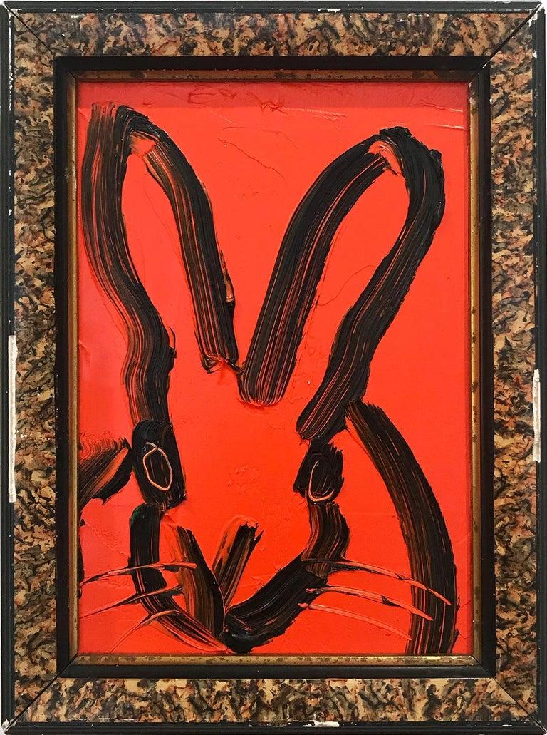 "Hunt Slonem Animal Painting - ""Max"" (Black Outlined Bunny on Scarlet Red Background)"