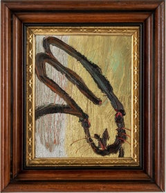 """""""Mia"""" (Black Bunny on Gold Silver and Multi Color Background) Oil on Wood Panel"""