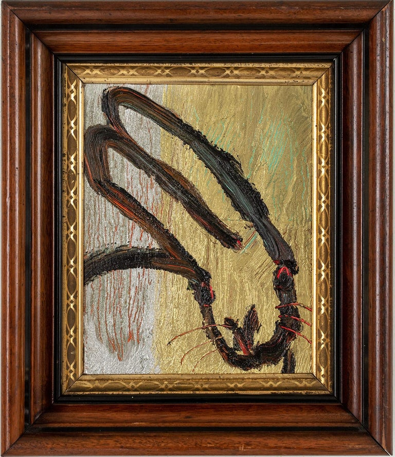 """Hunt Slonem Animal Painting - """"Mia"""" (Black Bunny on Gold Silver and Multi Color Background)"""
