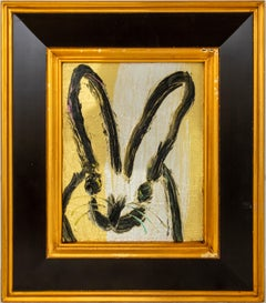 Mindful-  framed gold Neo- Expressionist bunny painting by Hunt Slonem