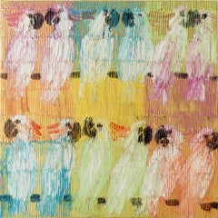 """Moluccan Monday"" Colorful Cockatoos with Gold Multicolored Background on Canvas"