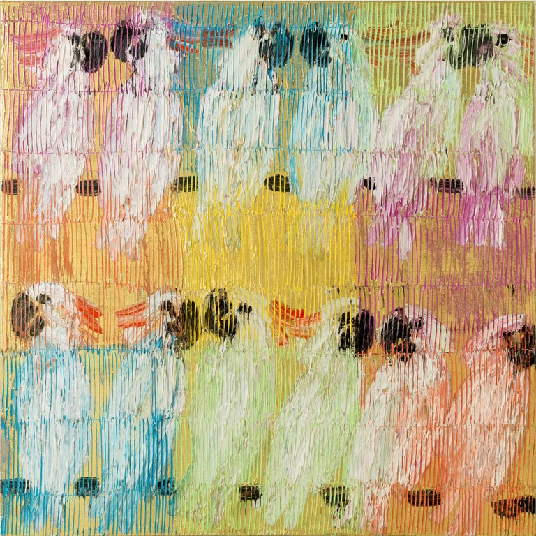 """Hunt Slonem Animal Painting - """"Moluccan Monday"""" Colorful Cockatoos with Gold Multicolored Background on Canvas"""