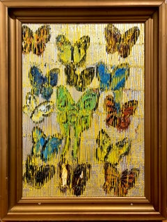 Multicolor Butterflies on gold, oil painting in gold frame