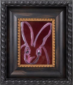 """Nancy"" (Bunny on Purple Resin Background) Oil Painting on Wood Panel"
