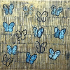 """Night Flight"" White and Blue Butterflies with Gold Background on Canvas"